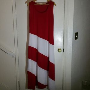 Red and white spiral striped sleeveless maxi dress